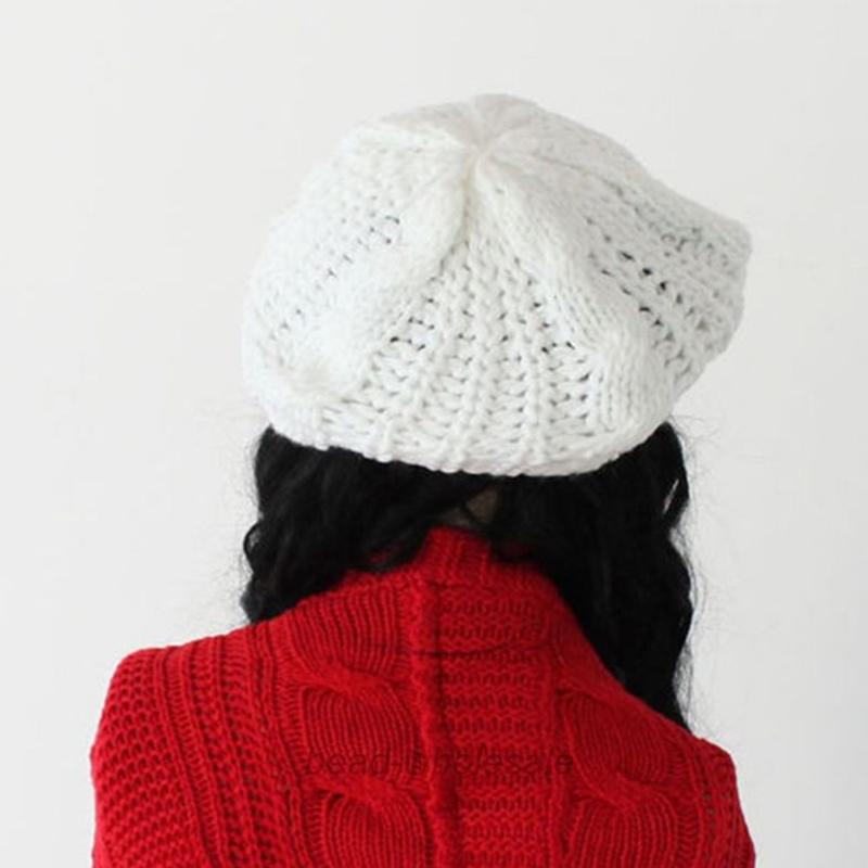 Warm Winter Women Hat Beret Braided Baggy Knit Crochet Beanie Ski ...