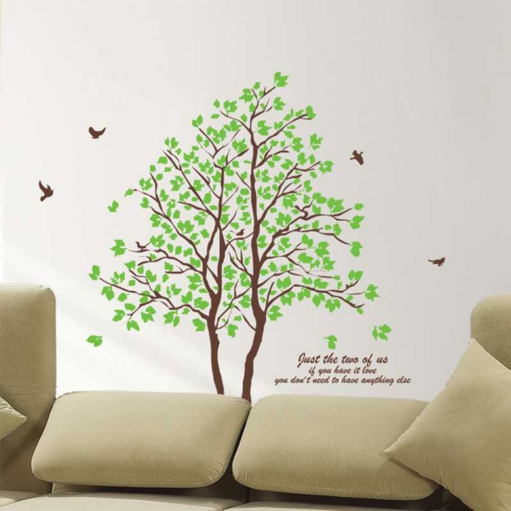 Large Size Green Tree Birds Wall Stickers Removable Home Diy Art