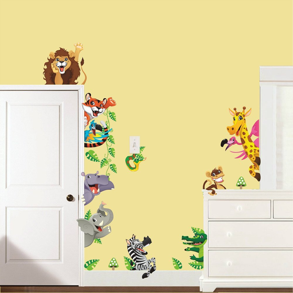 Animals Lion Zoo Wall Stickers Home Decor Nursery Children Kids Room ...