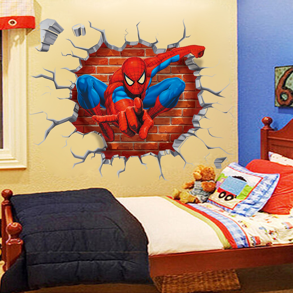 3D Spider Man Wall Sticker Removable Wall Decal Murals Kids Nursery ...