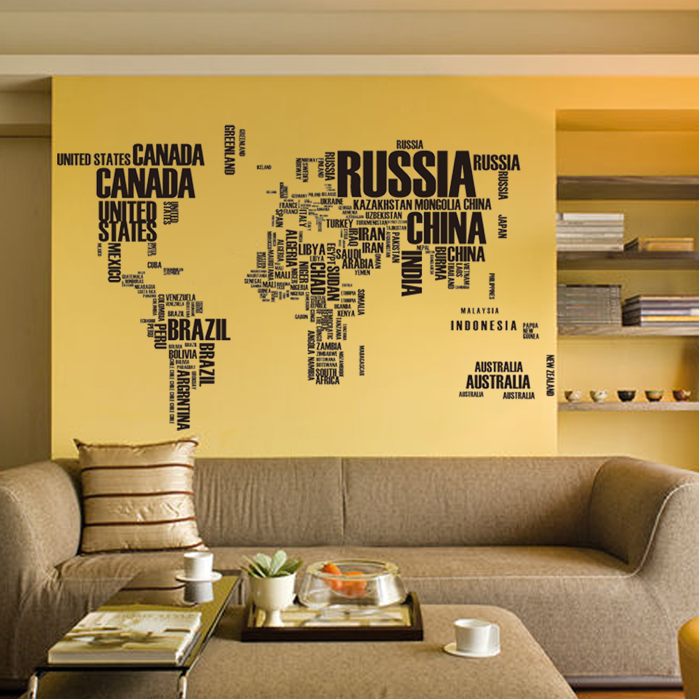 Large Size World Map Quote Letter Wall Stickers Removable Art Vinyl ...