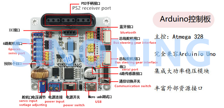 Details about Arduino uno shield for 6 dof robot arm microcontroller ps2  with code