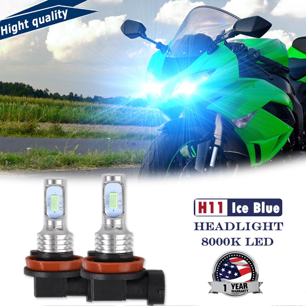 H11 12000LM LED Headlight Kit For 2012 Kawasaki ZX600 Ninja ZX-6R 2XHI//Lo Beam