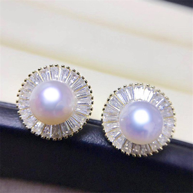 Details About 9 10mm White Cultured Freshwater Pearl Stud Earrings 925 Silver