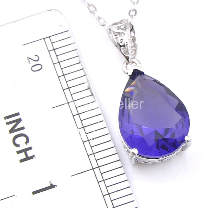 925 Silver Crystal Purple Pendant Necklace//RGN471