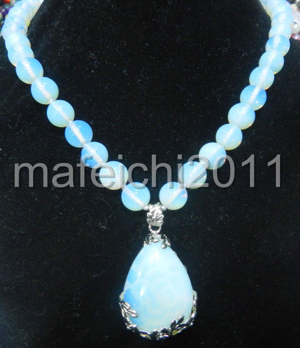 "Fashion 8MM Clear Sri Lanka Moonstone Gemstones Round Loose Beads necklace 18/"""