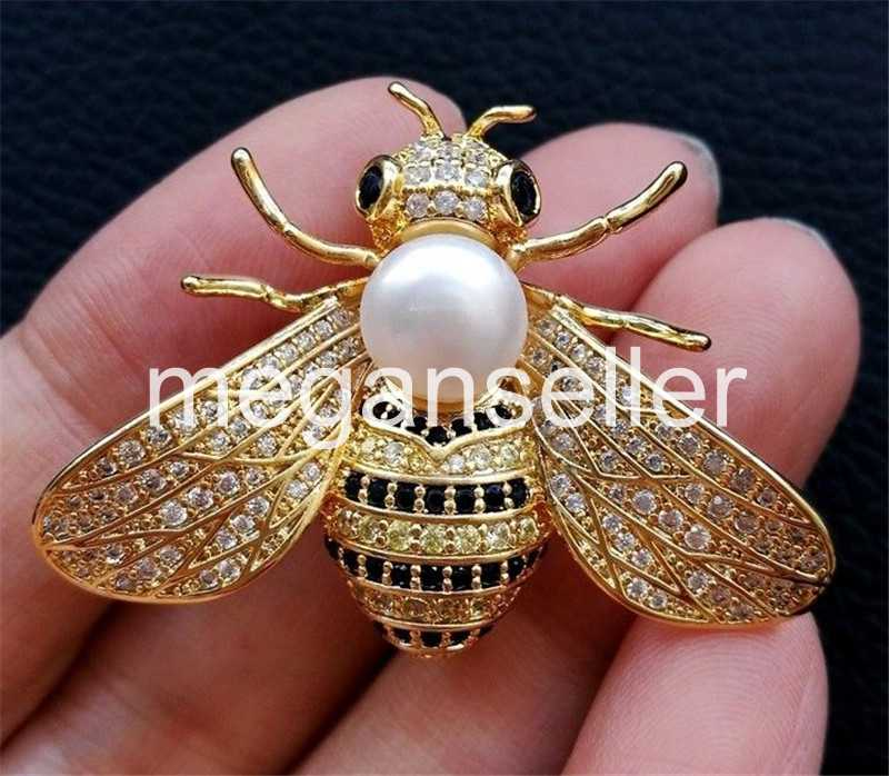White freshwater Pearl Cz Pave Bee Brooch