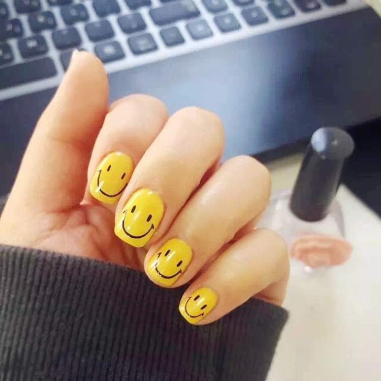 Emoji Nail Tips Sticker Smile Face Decor Water Transfer Nail Art ...