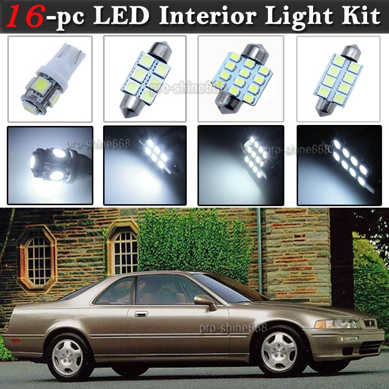 16-pc White LED Interior Light Bulb Package Kit Fit 1991