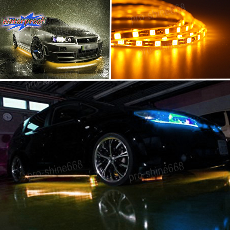 Details About Newest 4x Amber Led Strip Under Car Underglow Underbody System Neon Light Kit T