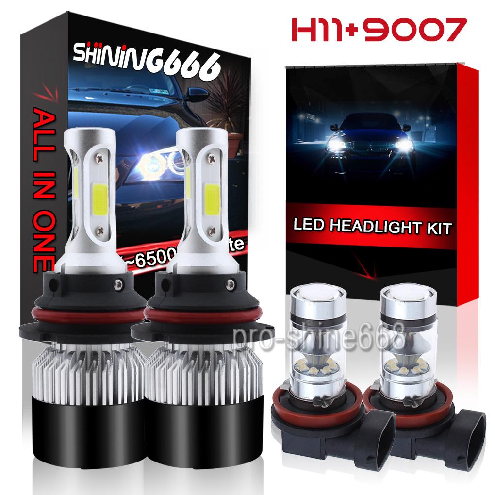 9007 LED Headlight H11 Foglight Bulb for Nissan Frontier 2005-2018 White 6000K