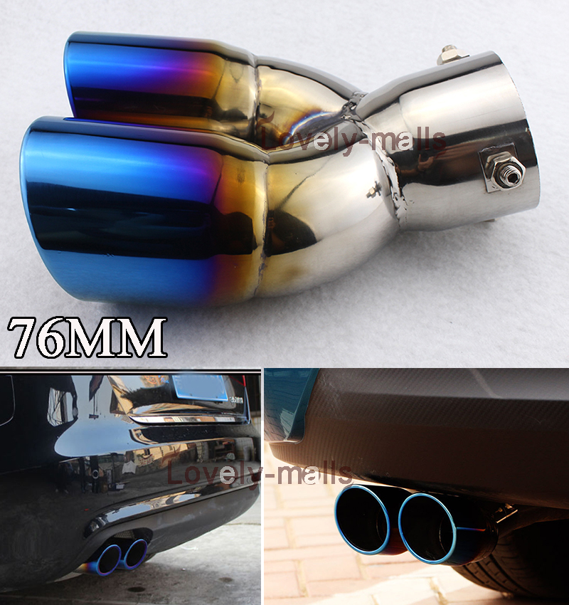 76MM Blue Stainless Steel Auto Car Rear Round Exhaust Pipe Tail Muffler Tips