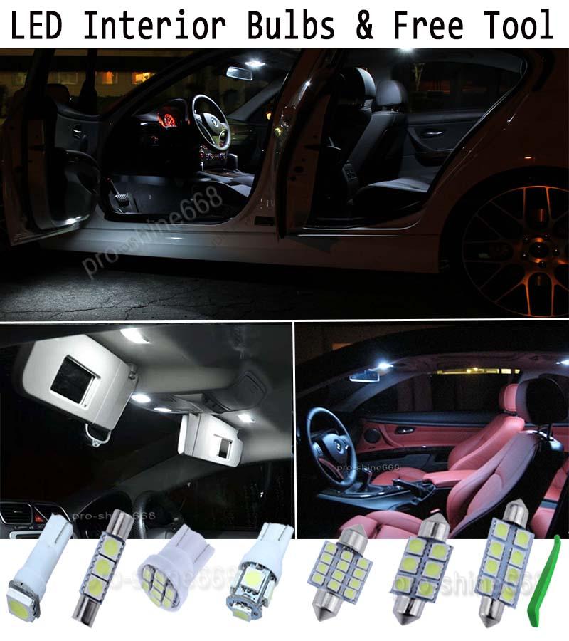 Interior Car Led Bulbs Light Kit Package Xenon White 6k