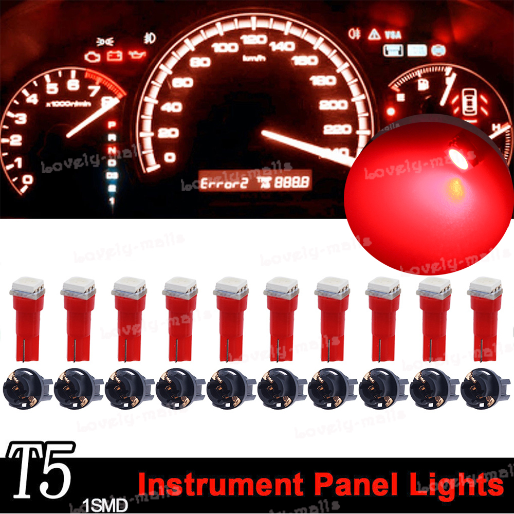 10x T5 Twist Socket PC74 Instrument Panel Cluster Red Dash Light Bulb 73 74
