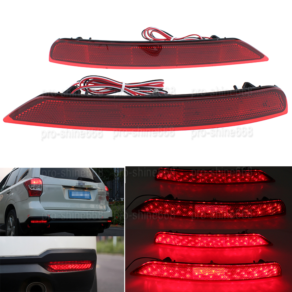 Red Led Rear Red Bumper Reflector Tail Brake Light For