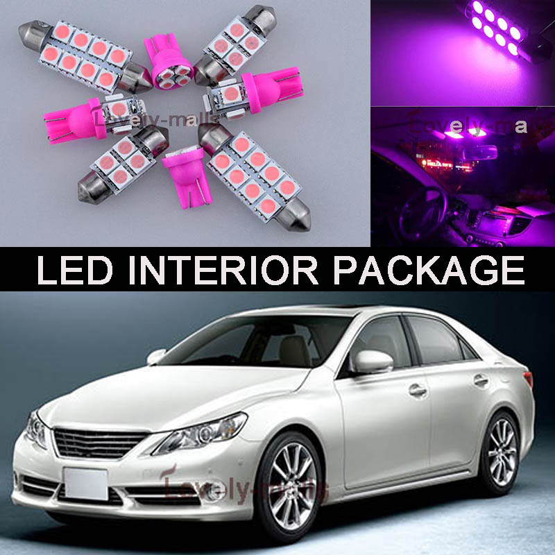 12Pcs Pink Map/Dome/Door Lights Interior LED Package Kit