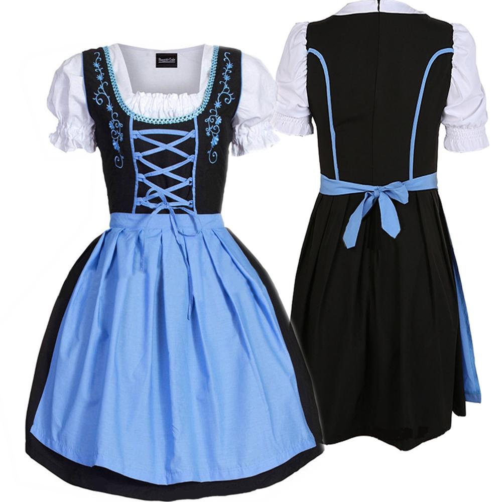 Dirndl Trachtenkleid 3 Teiliges Set Oktoberfest Wiesn Größen Gr S 2XL Kleid