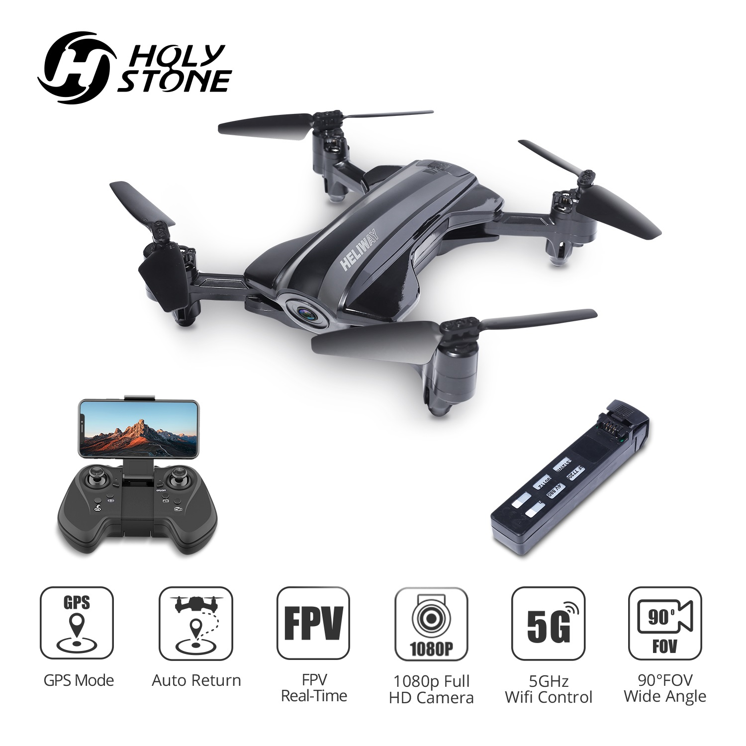 Holy Stone HS165 GPS Drone with 1080p HD Camera 5G Auto Return Beginners Drone