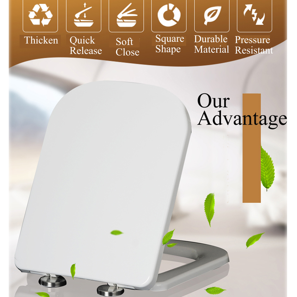 Luxury Toilet Seat Soft Close V Shape White Top Fixing Hinges Durable UK Stock