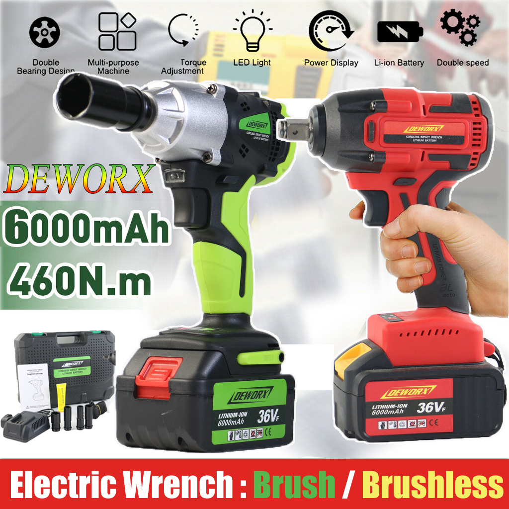 36VF Cordless Impact Wrench,36VF Li-ion Rechargeable Cordless 1//2 Inch Wrench Adjustable Speed with LED Light 100~240V UK Plug