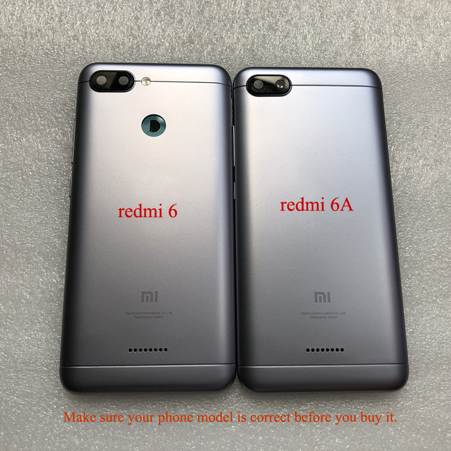 Metal Battery Cover For Xiaomi Redmi 6A Back Case Door Rear Housing With Buttons