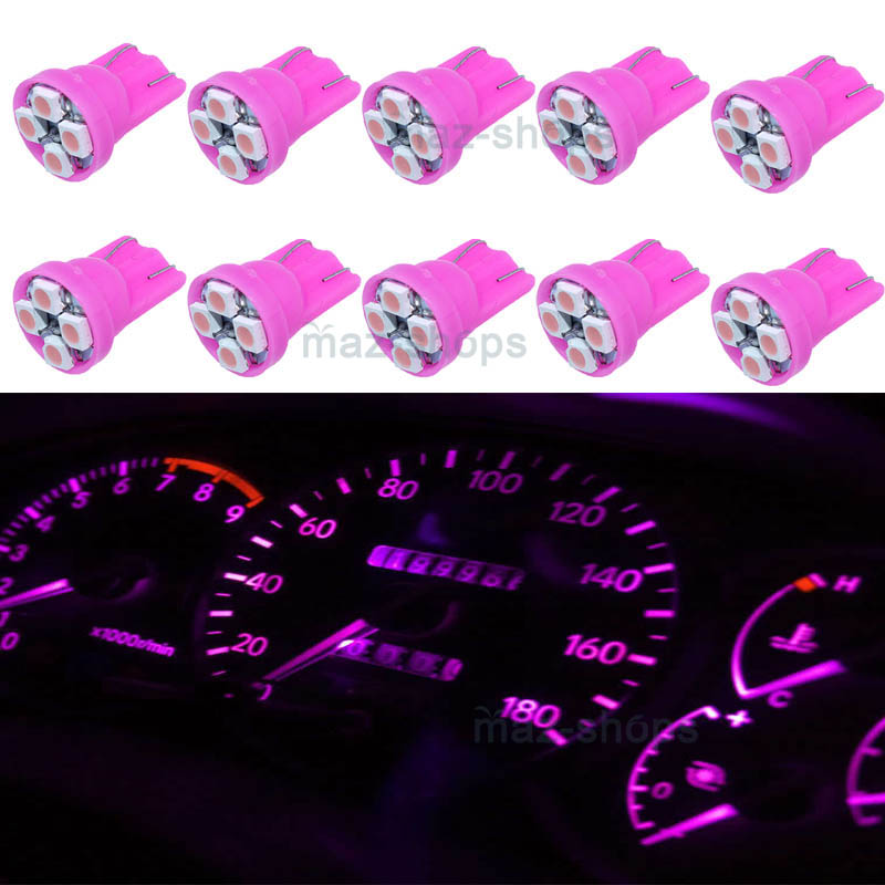 10X T10 2825 194 168 Pink 4 SMD LED Speedometer Dasahbaord Cluster Light Bulbs