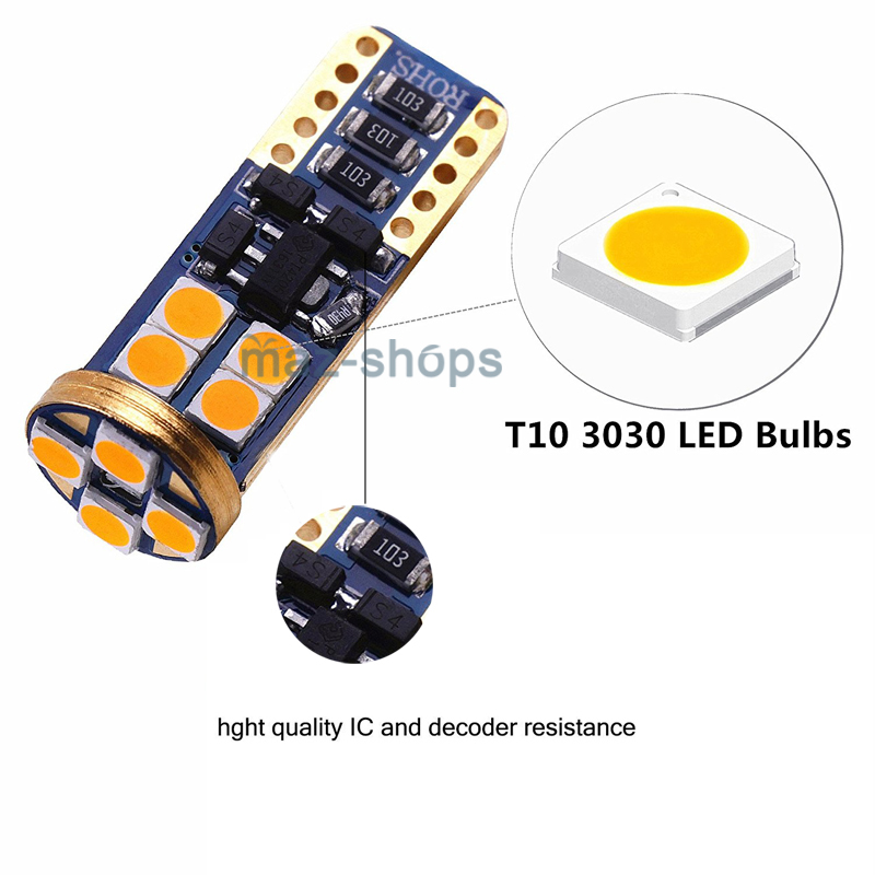 2pcs Canbus Amber Side Mirror Lights Led Bulbs For 2007
