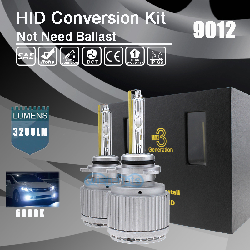 All in One 9012 55W Bright White 6000K HeadLight Replacement HID Conversion Kit