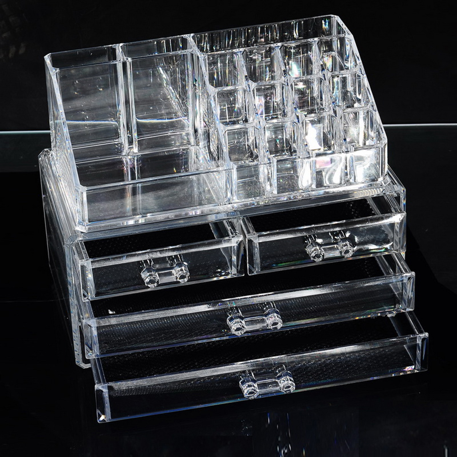 Cosmetic Organizer Clear Acrylic Makeup Drawers Holder Case Box Jewelry