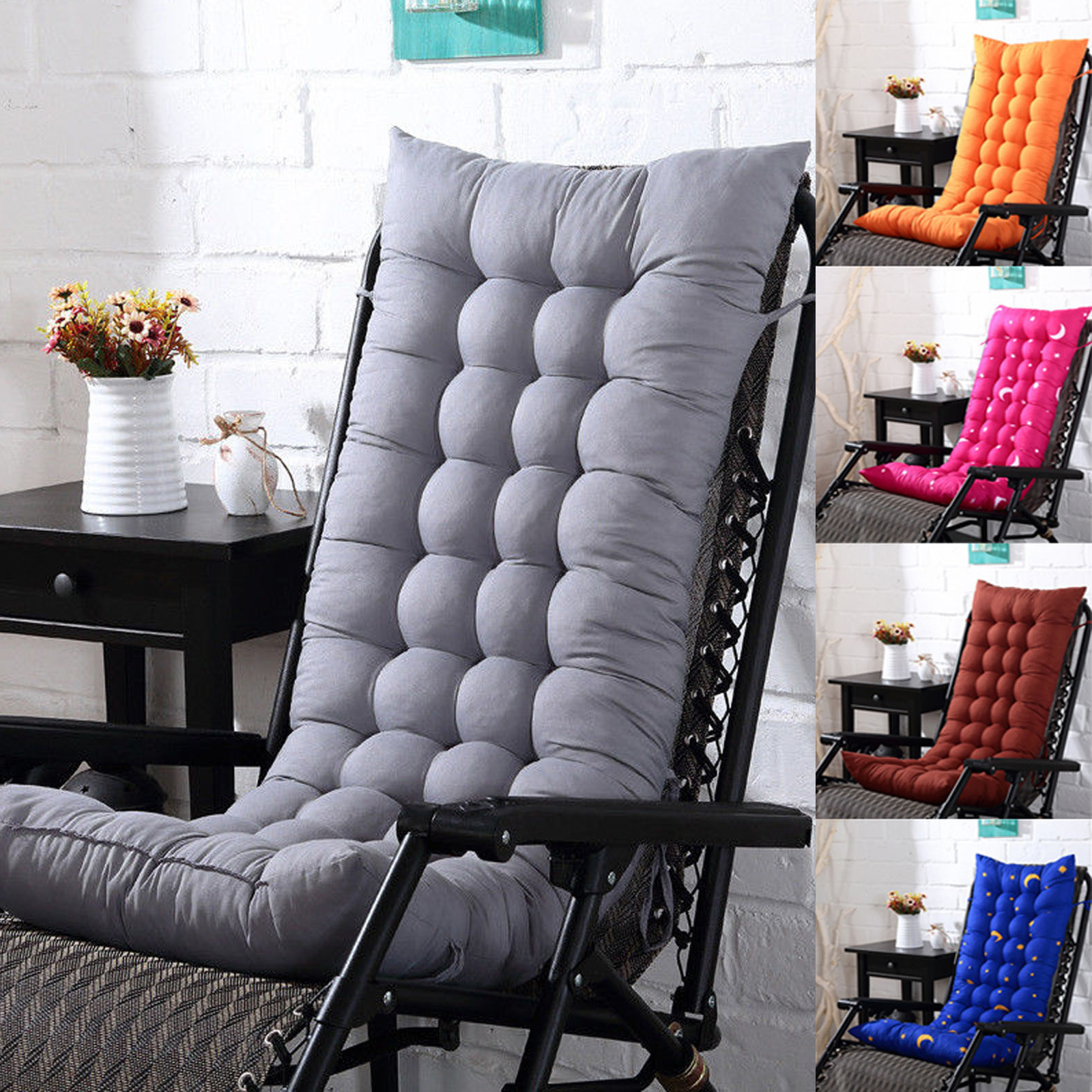 Lounge Chair Cushion Tufted Deck Chaise Padding For Outdoor Patio