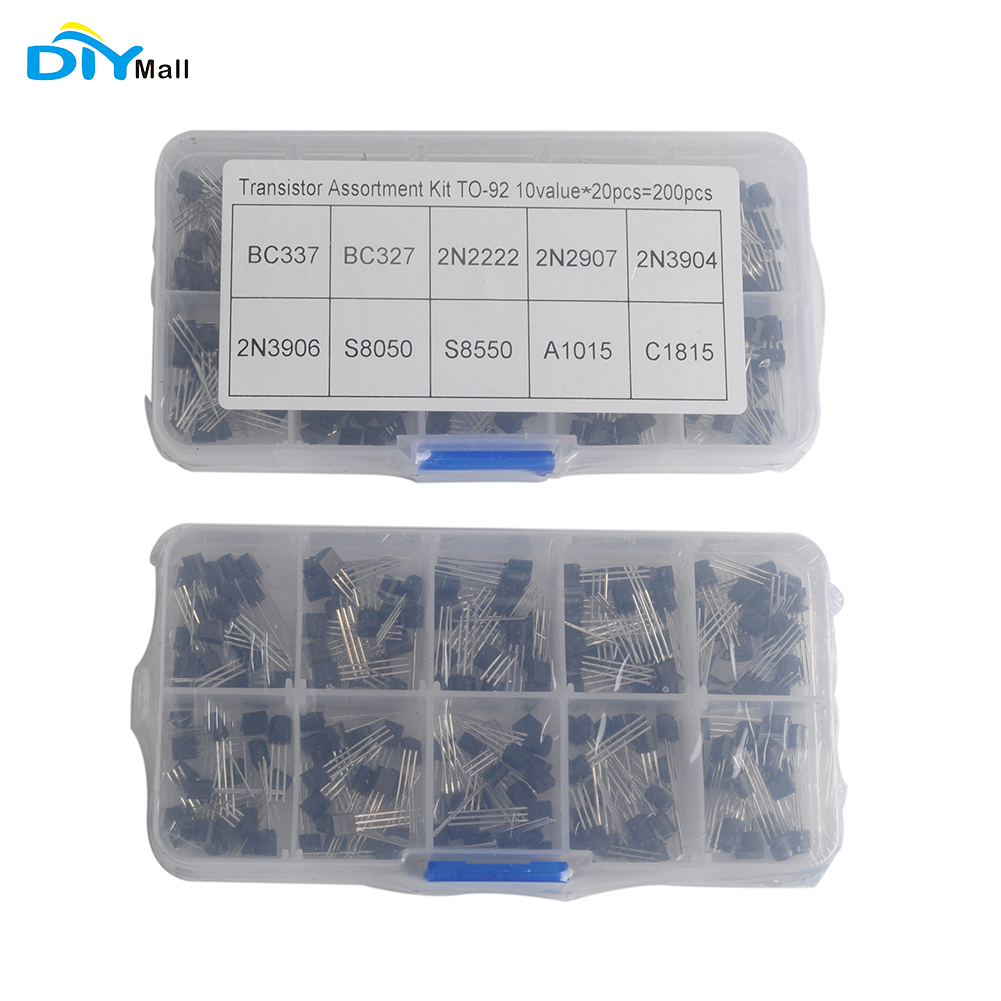 Transistors Assortment Kit 200 pcs//lot Plastic Box TO-92 10 Values 20pcs BC327 BC337 2N2222 2N2907 2N3904 2N3906 S8550 A1015 C1815