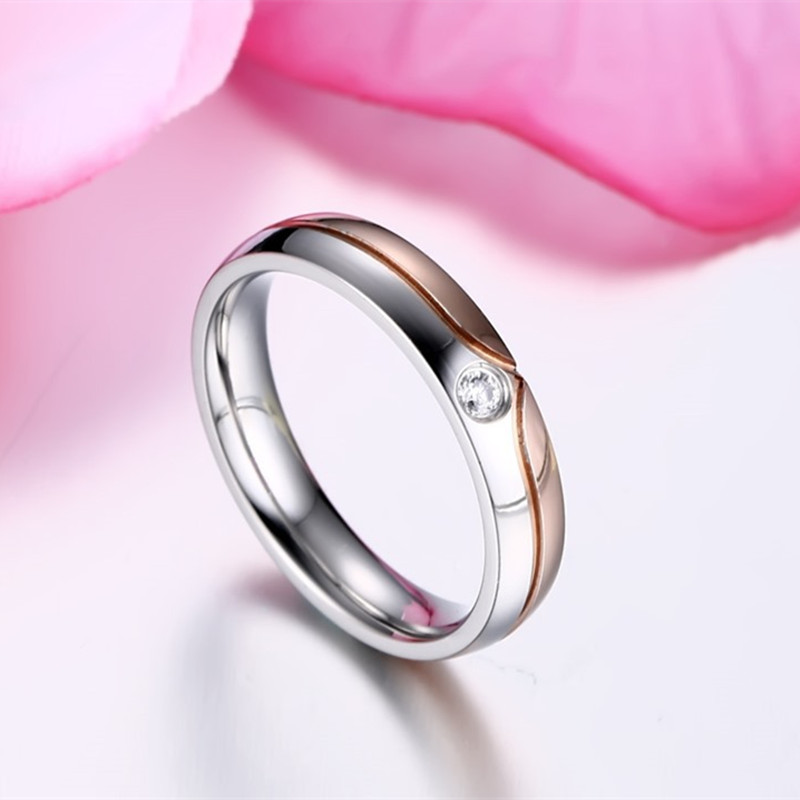 Women Titanium Steel Ring Crystal Wedding Ring For Party Giftrose Source · Black Rose Gold Stainless