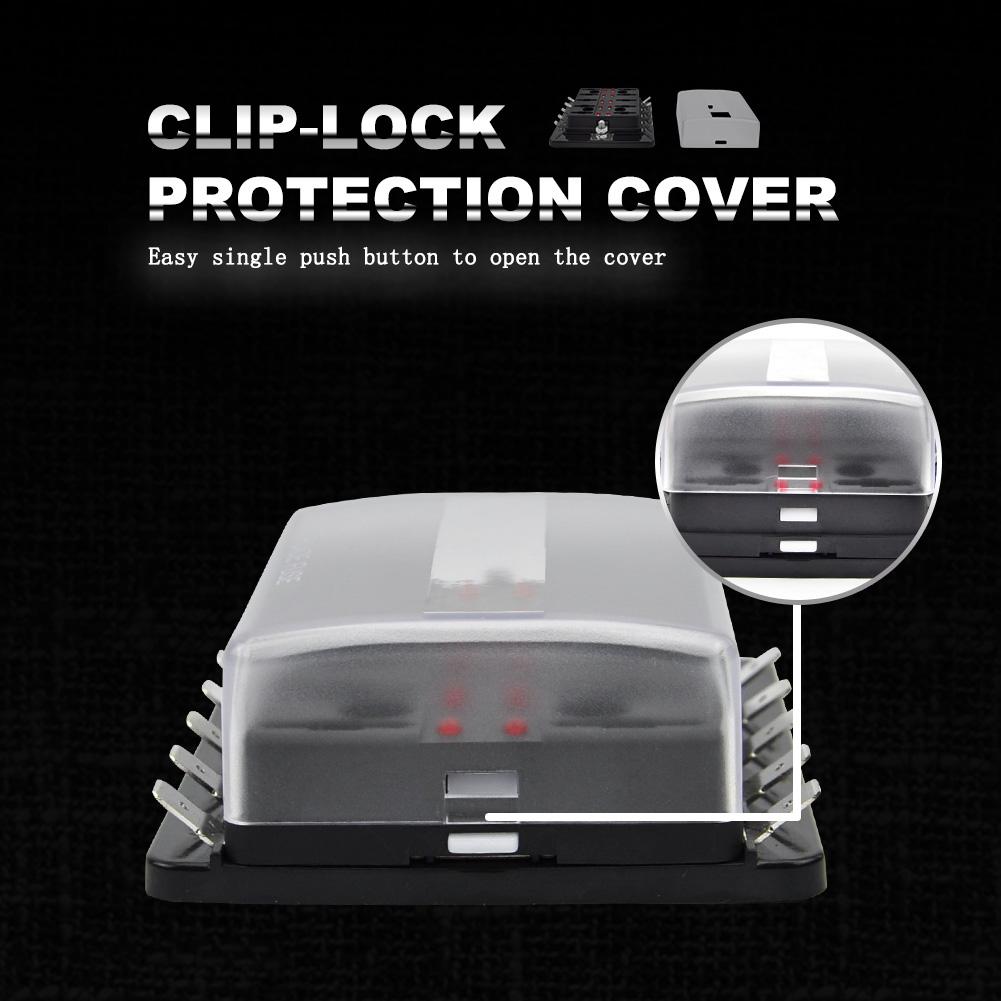 10 Way Blade Fuse Block Holder Box W Led Light Circuit Caravan Push Button For Truck Car 4x4 12v 24v
