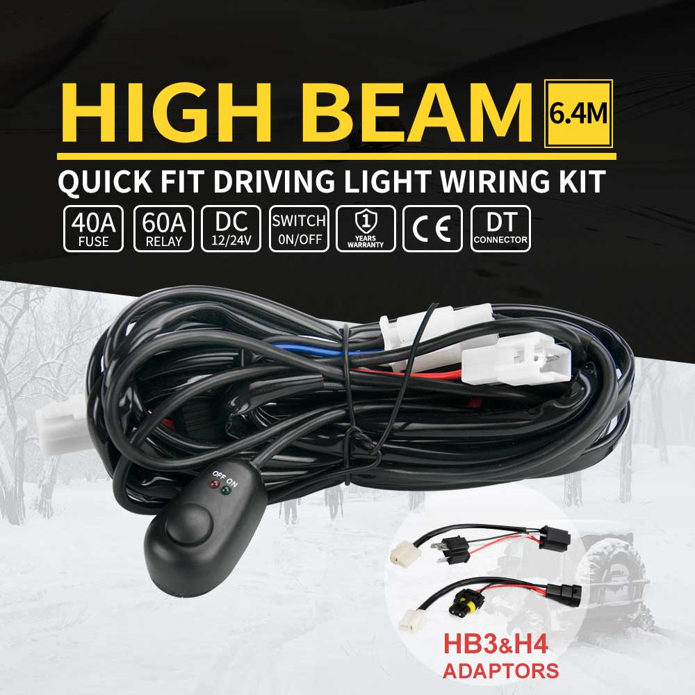 Led Light Wiring Loom Harness Relay Kit Driving Lamp Plug Quick Fit A For High Beam