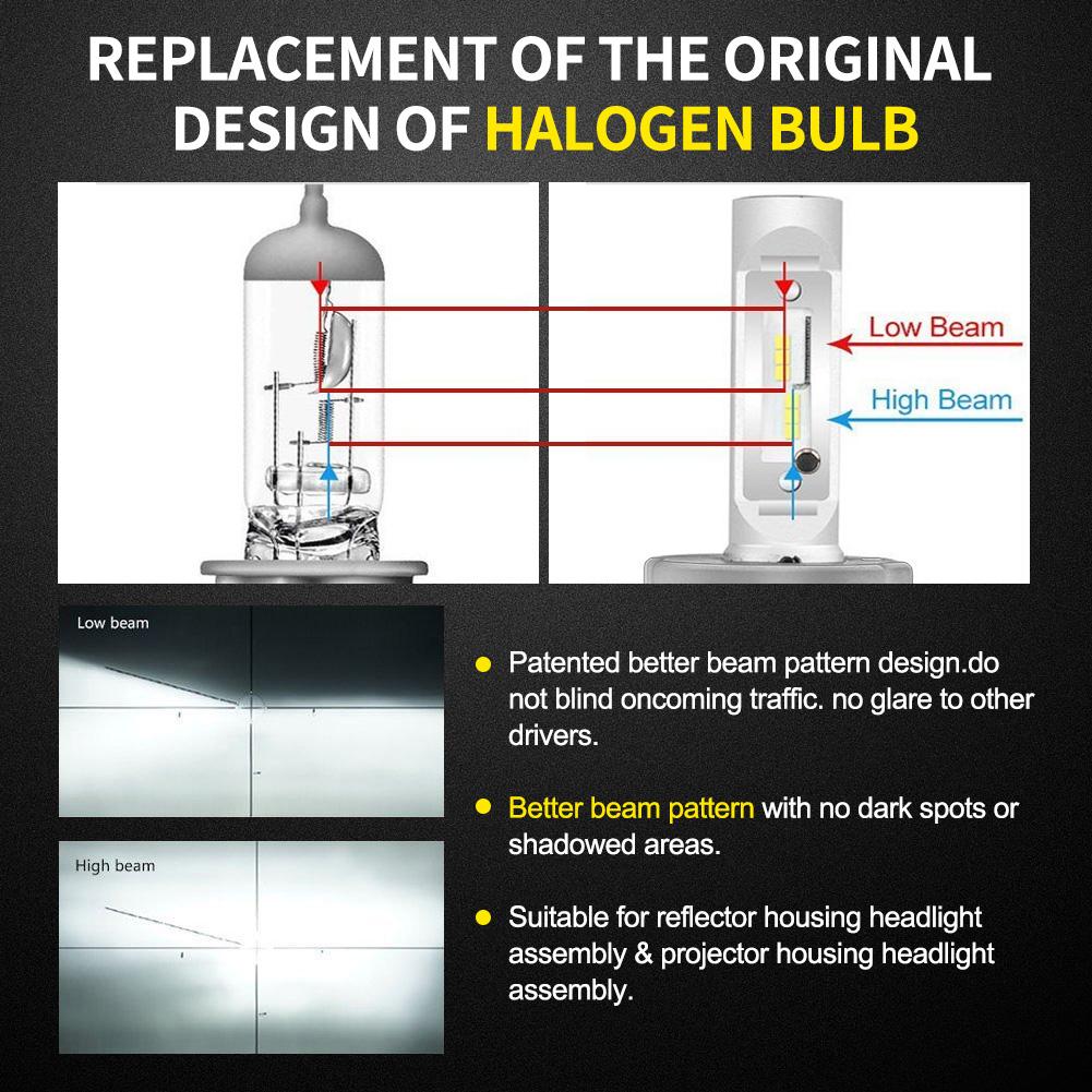Pair H4 9003 72w 18000lm Led Headlight Kit Lamp Bulbs Globes Hi Lo Wiring Diagram Beam Upgrade