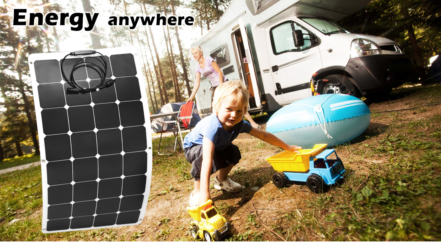 100w 12v Flexible Solar Panel Kit Caravan Camping Boat