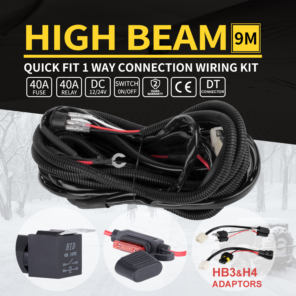 Led Driving Light Bar Wiring Loom Harness 12v 40a Switch Relay Kit Hid Spot Work Quick Fit
