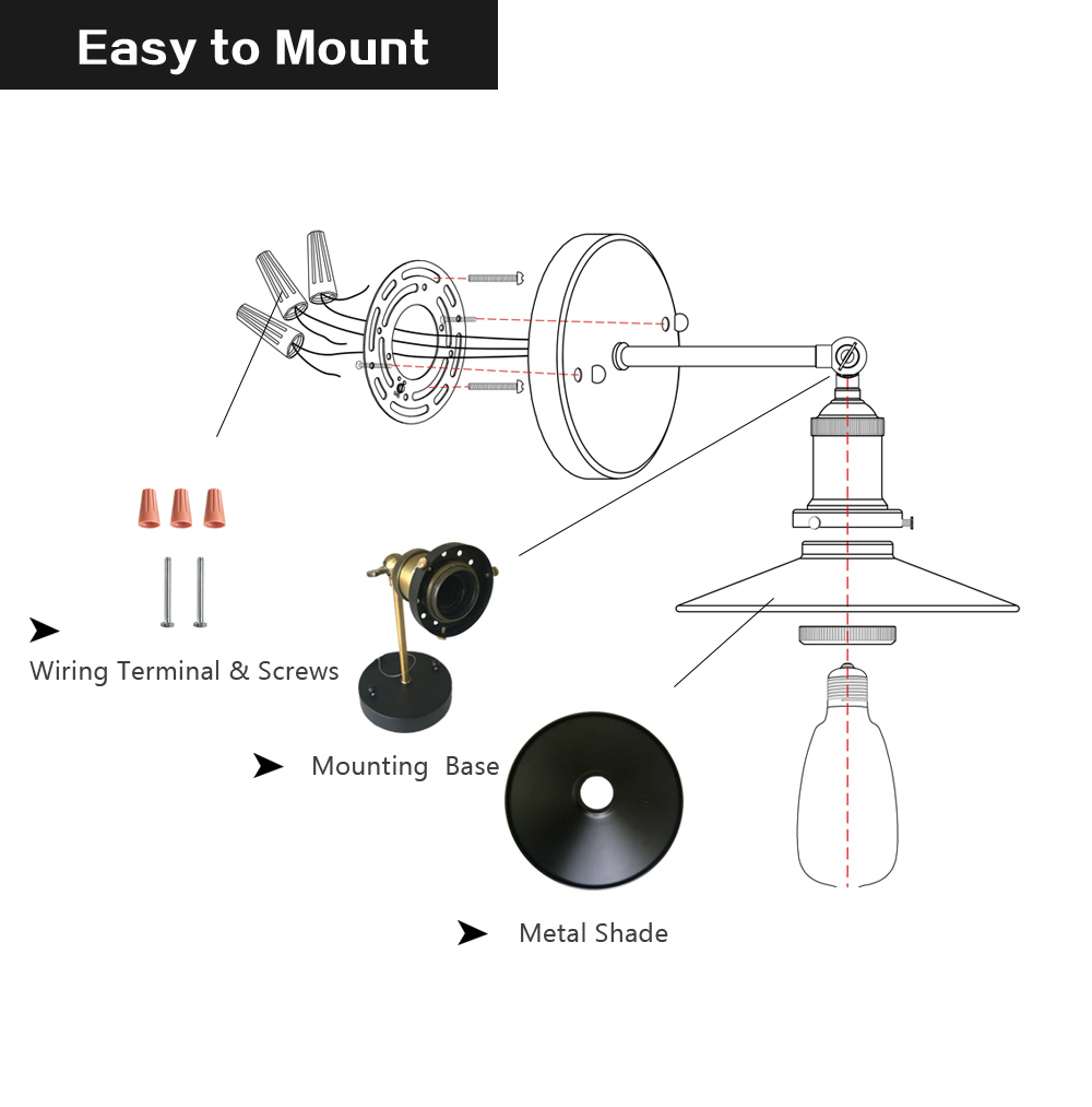 Vintage Sconce Shade Adjustable Industrial Wall Light Black Metal Wiring Diagram Easy To Install This Mounted Lamp With Cord Comes Terminalscrewsinstallation Set Up Easily And