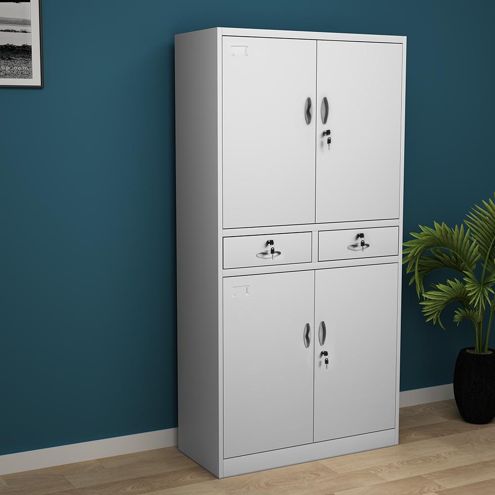Metal Storage Office Filing Cabinet 2Door Cupboard Wardrobe Shelves Locker Steel