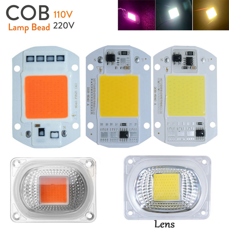 Led Cob Grow White Chip Lens Reflector 50w 30w 20w 110v
