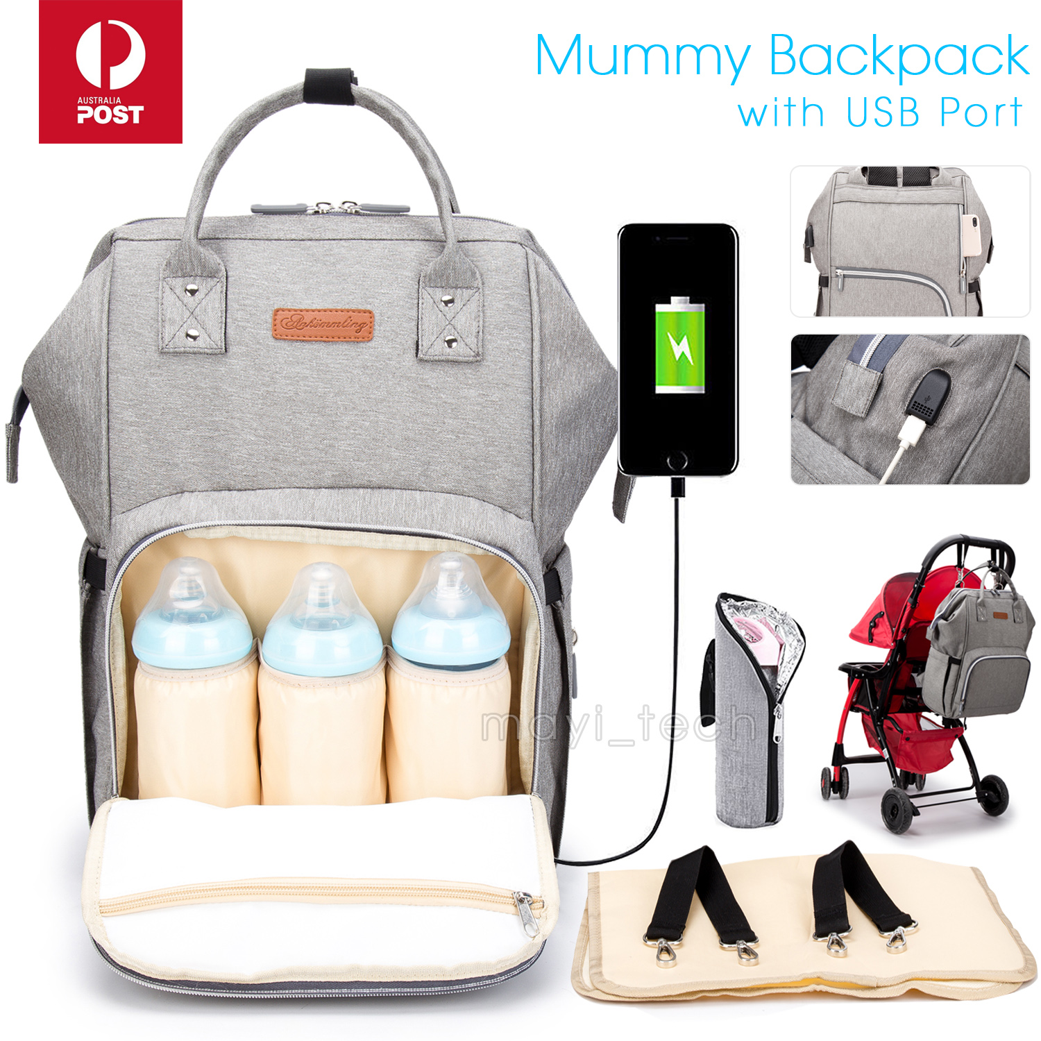 Multifunction Baby Diaper Backpack Changing Waterproof Bag Mummy Nappy S