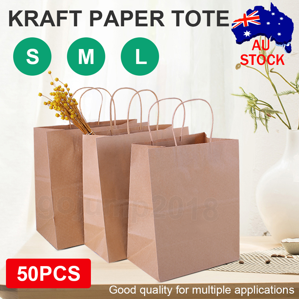 Brown Paper Bag Kraft Eco Recyclable Reusable Gift Carry Shopping Retail Bags