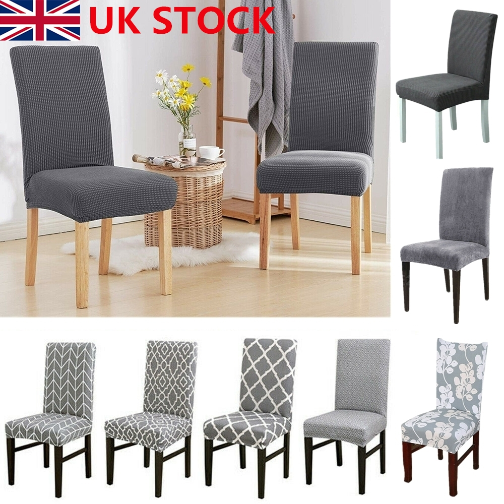 UK 1/4/6X Stretch Dining Chair Covers Removable Slipcovers ...