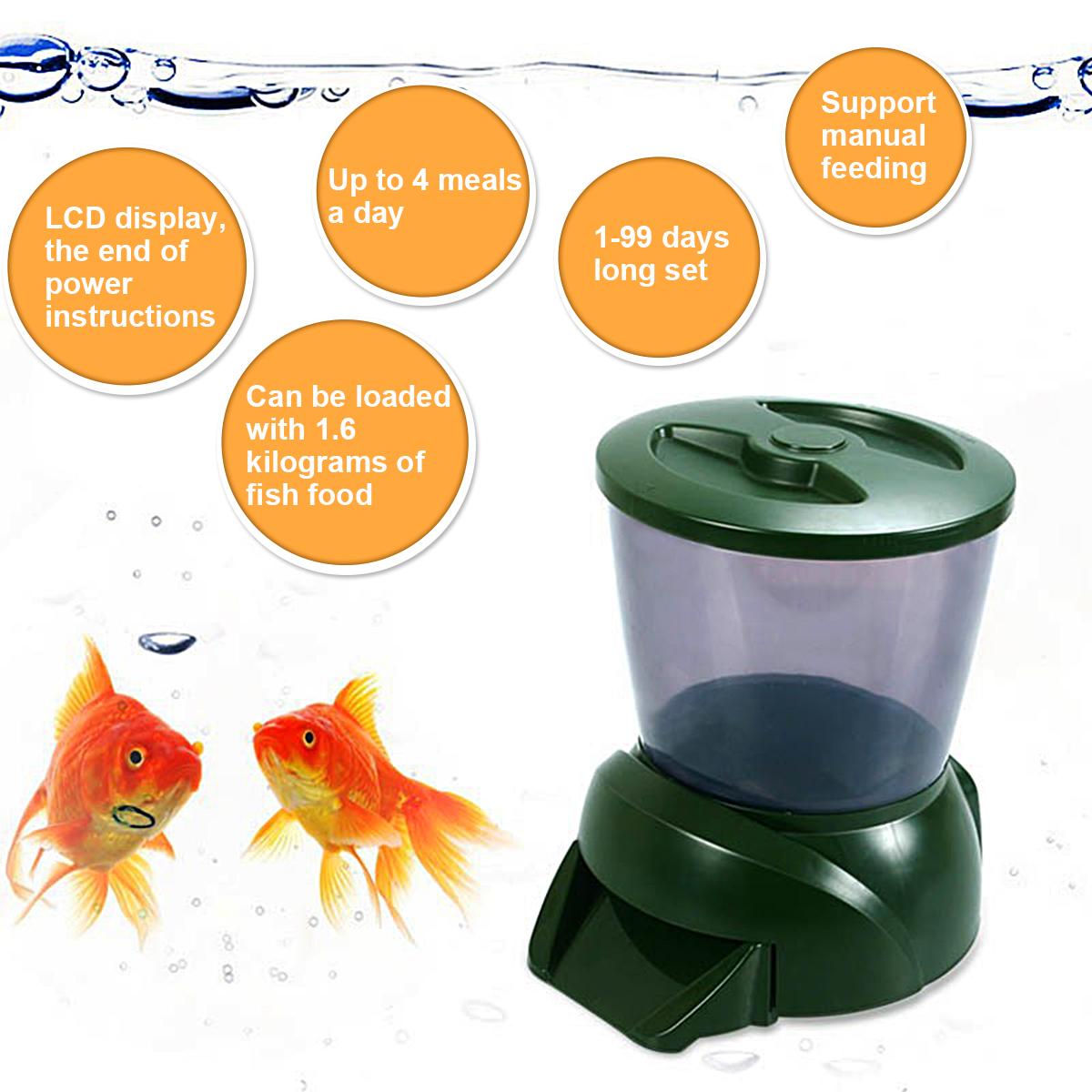 Alimentador automático de estanque koi peces vacaciones temporizador automático prescindir de alimentación temporizador digital