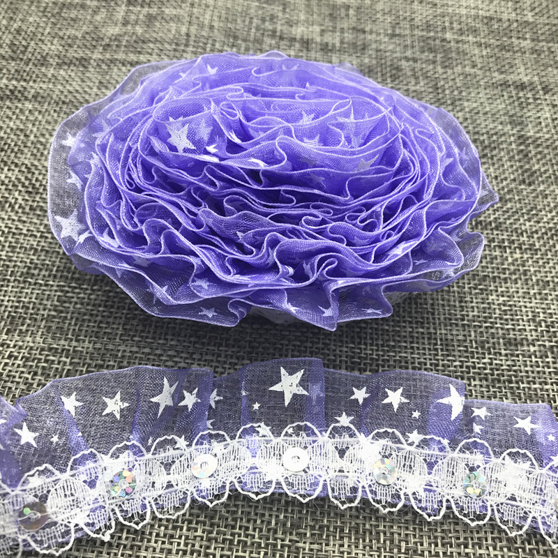 3yards 25MM 2-Layer Butterfly Organza Lace Gathered Pleated Sequined Trim Purple