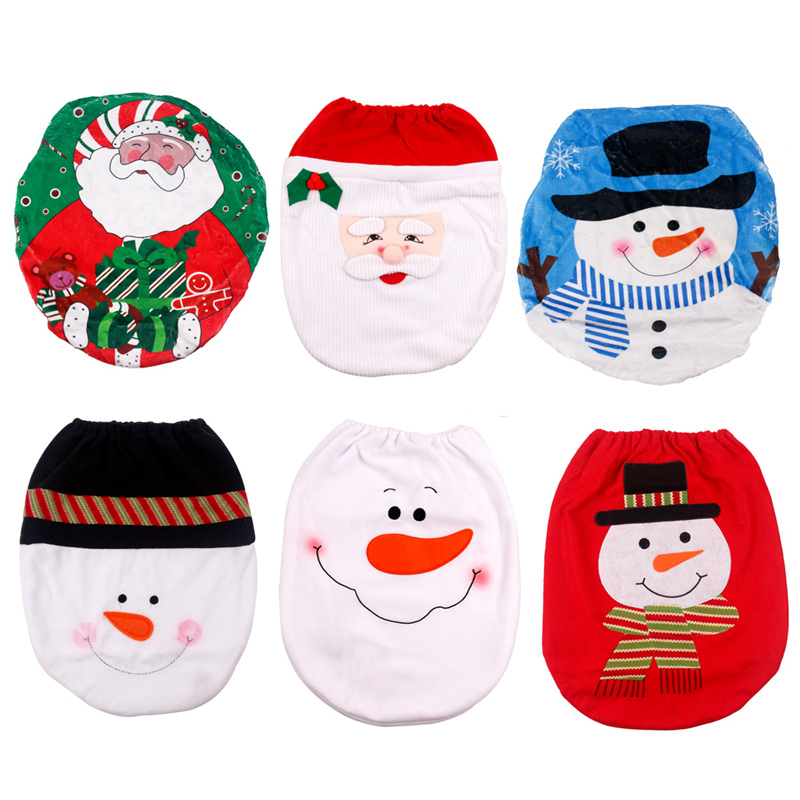 XMAS Santa Toilet Seat Cover Christmas Snowman Elf Home Holiday Party Decoration