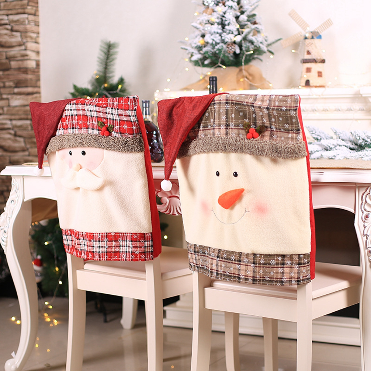 Christmas Chair Back Covers.Details About Santa Claus Chair Back Cover Decor Christmas Dining Chair Decoration Home Party