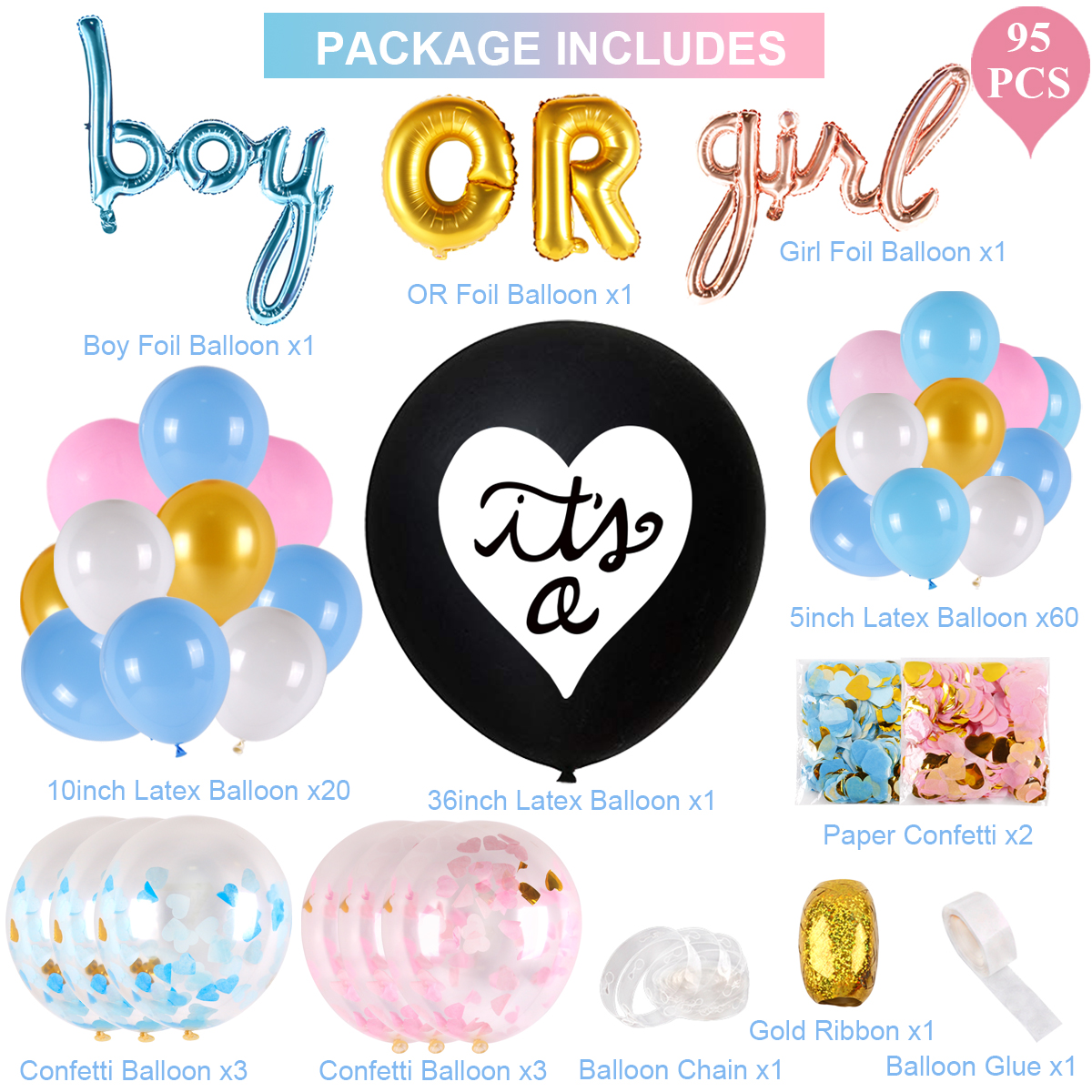 95X Gender Reveal Party Set Confetti Balloons Baby Shower Decoration Supplies