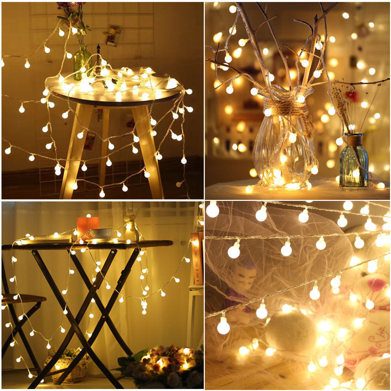 Led Christmas Lights Warm White.Details About Led Christmas Lights Balls Strings Warm White Wedding Decor Room Xmas Ornaments
