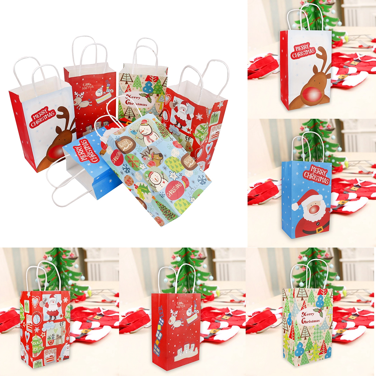 Christmas Gift Bags For Kids.Details About Christmas Gift Bags Paper Tote Bag Xmas Stocking Santa Claus Home Decor Supplies